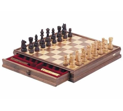 "15"" Classic Chess And Checkers Wooden Game Set New"