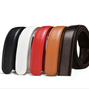110-140cm-Mens-Genuine-Leather-Ratchet-Belt-Waistband-Strap-For-Automatic-Buckle