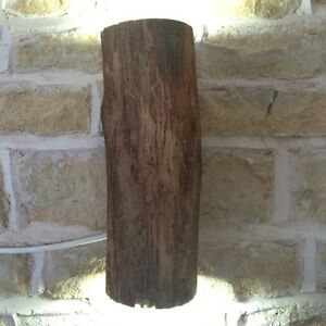 REAL WOODEN LOG WALL LIGHT RUSTIC NATURAL WOOD TWIN LIGHT FITTING UP DOWN eBay