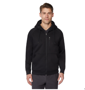 32-Degrees-Heat-Men-039-s-Fleece-Tech-Sherpa-Full-zip-Hoodie-Black