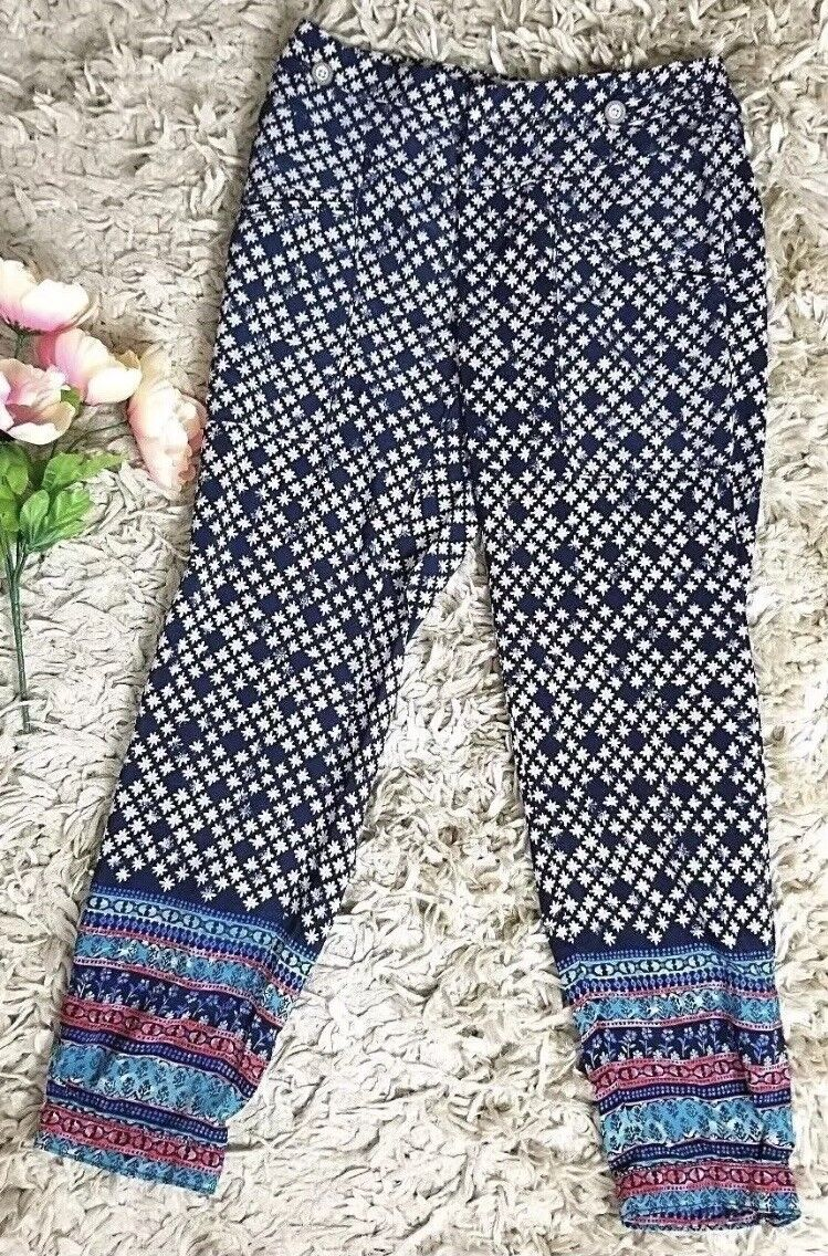 Anthropologie Elevenses Snowflake Floral Printed Cuffed Navy Pants Size 0