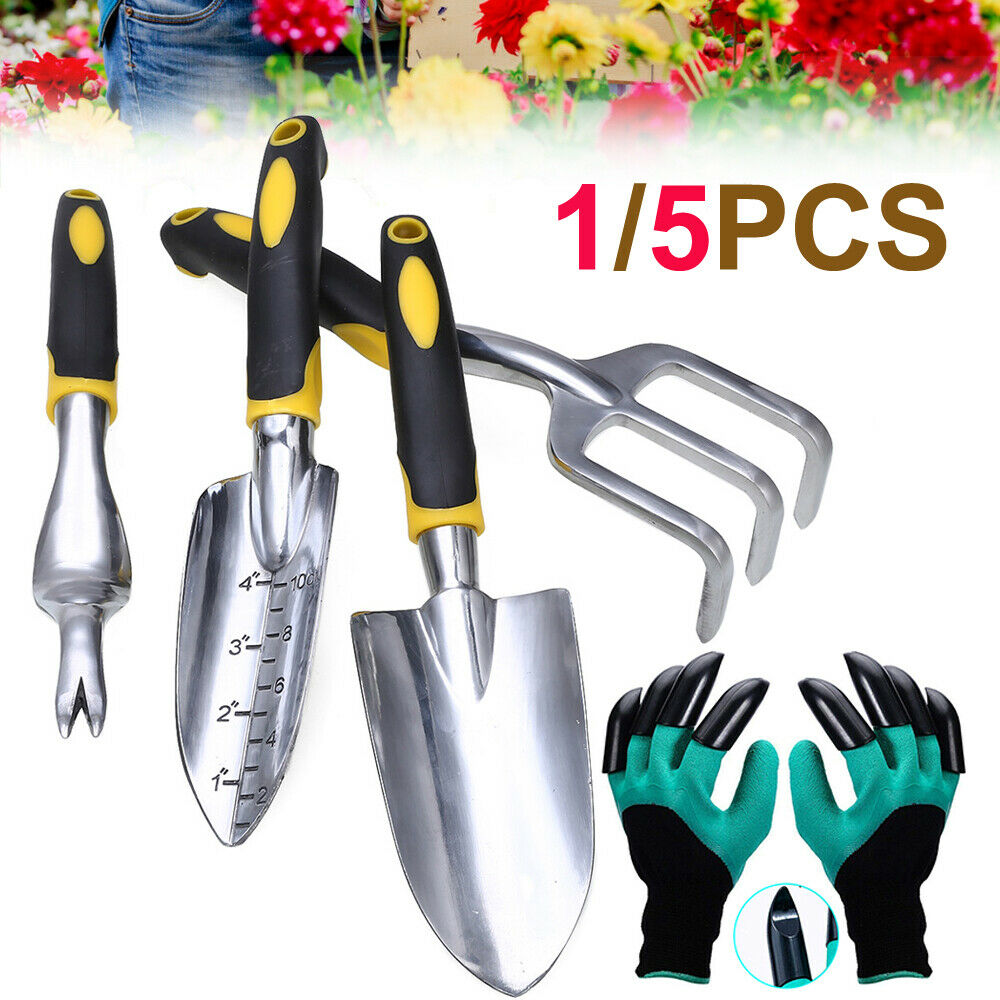 1-5PCS Garden Tools Set-5Pcs Stainless Steel Heavy Duty Kit Weeder Cultivator 4