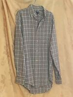 Lands' End Multi-plaid Shirt Hipster Business Casual Size Small 14-14 1/2 -
