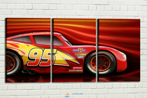 HD Print Oil Painting Wall Decor Art on Canvas Cars 3 Lightning McQueen Red 3PCS