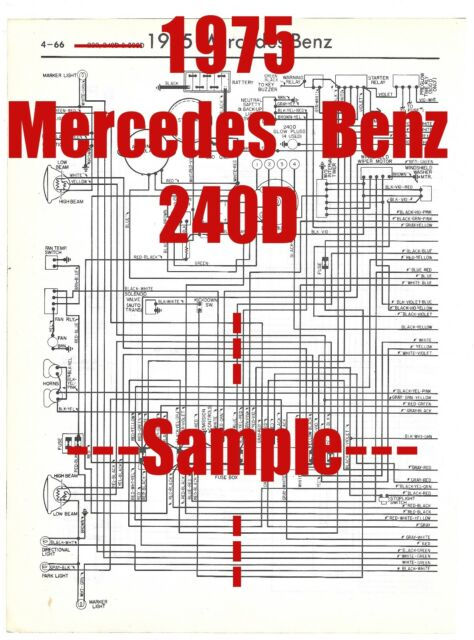 1975 Mercedes Benz 240d Full Car Wiring Diagram  High