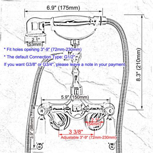 "3-3//8/"" Wall Mounted Bathroom Shower Faucet Bath Mixer Tap W//Hand Shower Sprayer"