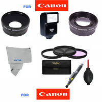 58mm Wide Angle+telephoto Zoom+flash Kit For Canon Rebel Eos Xsi Xt 20d 7d T3