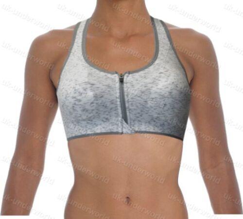 Ladies Sports Bra Women/'s Athleisure Zip Front Racerback Dance Running Gym Wear