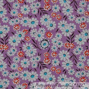 BonEful-Fabric-FQ-Cotton-Quilt-Purple-White-Red-Aqua-Blue-Flower-Leaf-Small-Girl