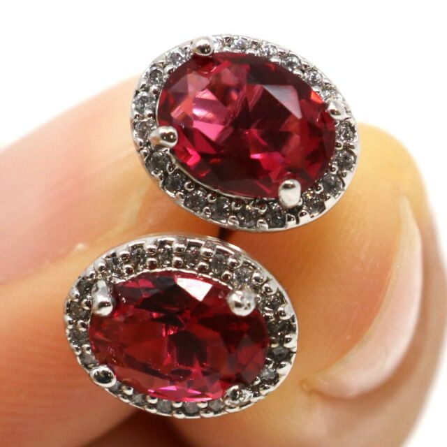 Large 2Ct Oval Red Ruby Women Wedding Earrings 14K White Gold Plated Jewelry