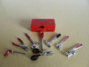 (g2.27) échelle 1/12th Maison De Poupées Ensemble De D I Y Et Outils Tool Box-afficher Le Titre D'origine Qualité SupéRieure (En)