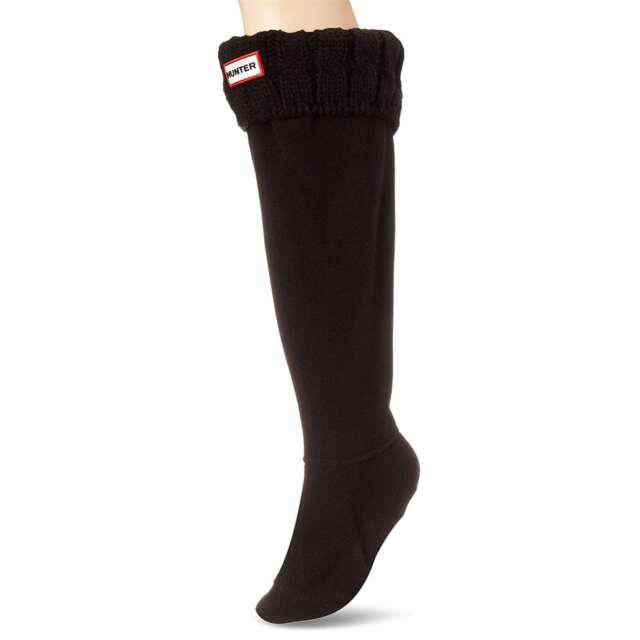 b335882e9 Hunter Size M Original Tall 6 Stitch Cable Boot Socks Black BLK Fleece