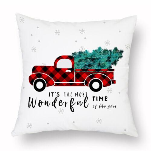 Christmas Xmas Linen Cushion Cover Throw Pillow Case Home Decor Festive Gift NEW