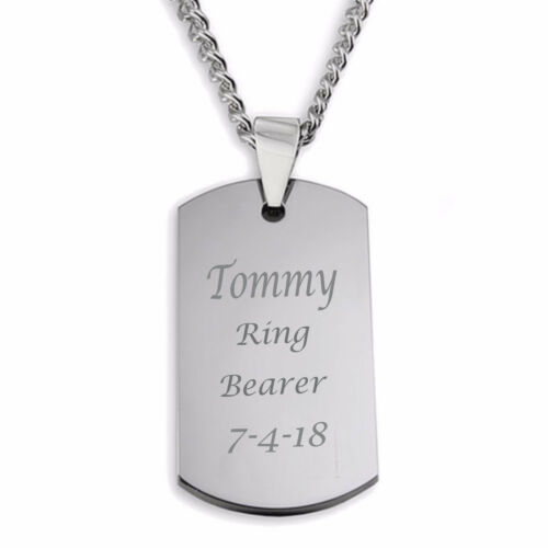 PERSONALIZED SMALL SILVER DOG TAG PENDANT WITH NECKLACE CUSTOM ENGRAVED FREE