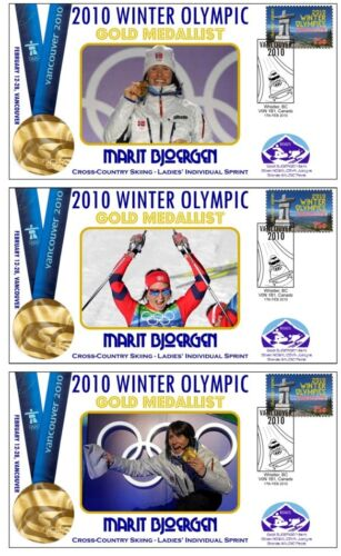 MARIT BJOERGEN 2010 OLYMPIC SKIING SET OF GOLD COVERS