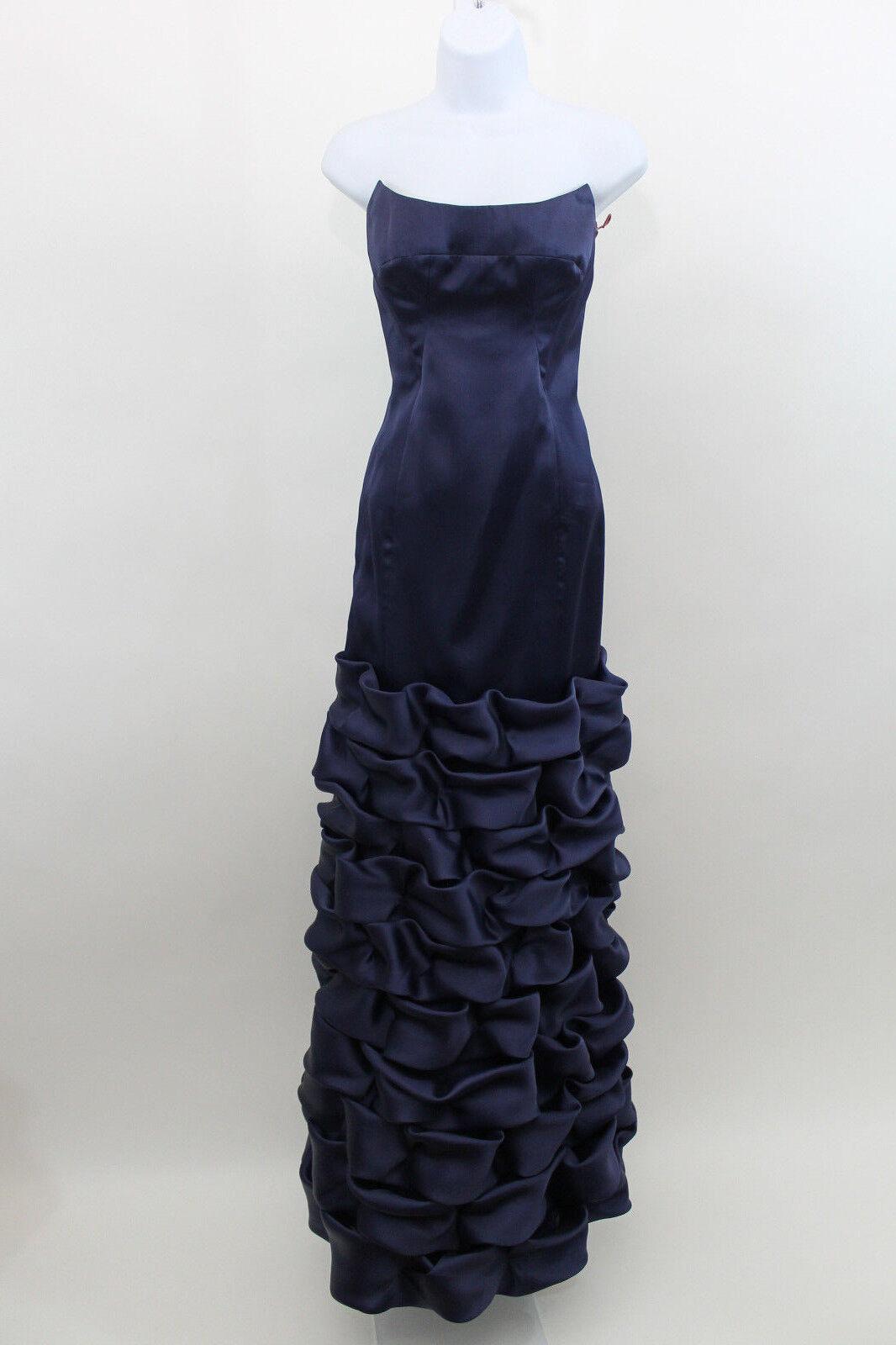 Jay Godfrey Navy bluee Strapless Ruffle Formal Gown SZ 6 (J12)