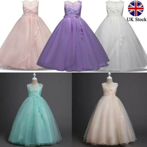 Flower Kid Girls Princess Tulle Layers Wedding Bridesmaid Formal Long Maxi Dress
