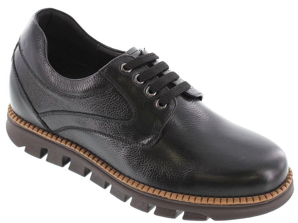 Elevador CALTO G63812 - 3 pulgadas Altura Aumentar Zapato Negro Cuero Con Cordones