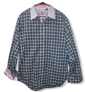 Robert-Graham-X-Men-039-s-Blue-Plaid-Flip-Cuff-Contrast-Collar-Button-Front-Shirt-XL
