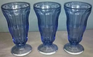 3-Vintage-Sapphire-Blue-Glass-Footed-Dessert-Dishes-Milkshake-Parfait-Sundae