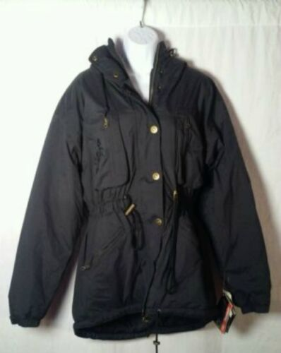 Ossi Skiwear Women's Poly-Nylon Coat M Black Hooded Padded Jacket MSP $140 Sz 14