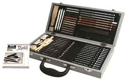 Deluxe Sketching BOX SET DESSIN PAD crayons pastels Anthracite mannequin SKET 2000