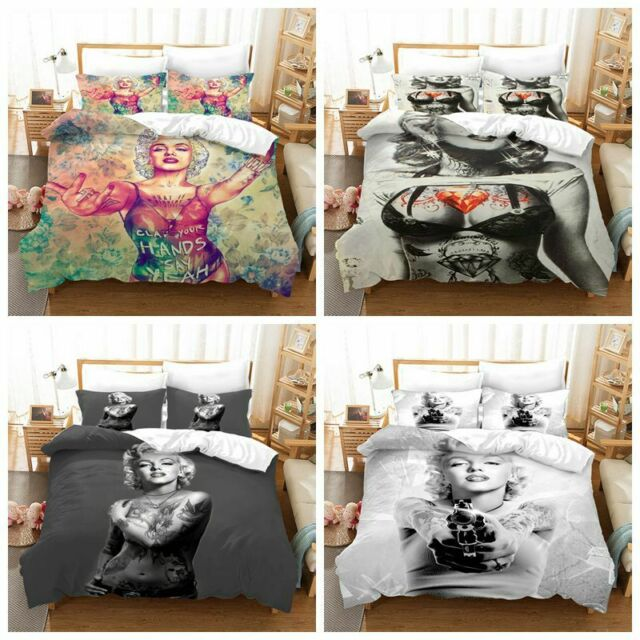 3D Marilyn Monroe Kissing Quilt Cover Sets Duvet Cover Bedding Set Pillow Case
