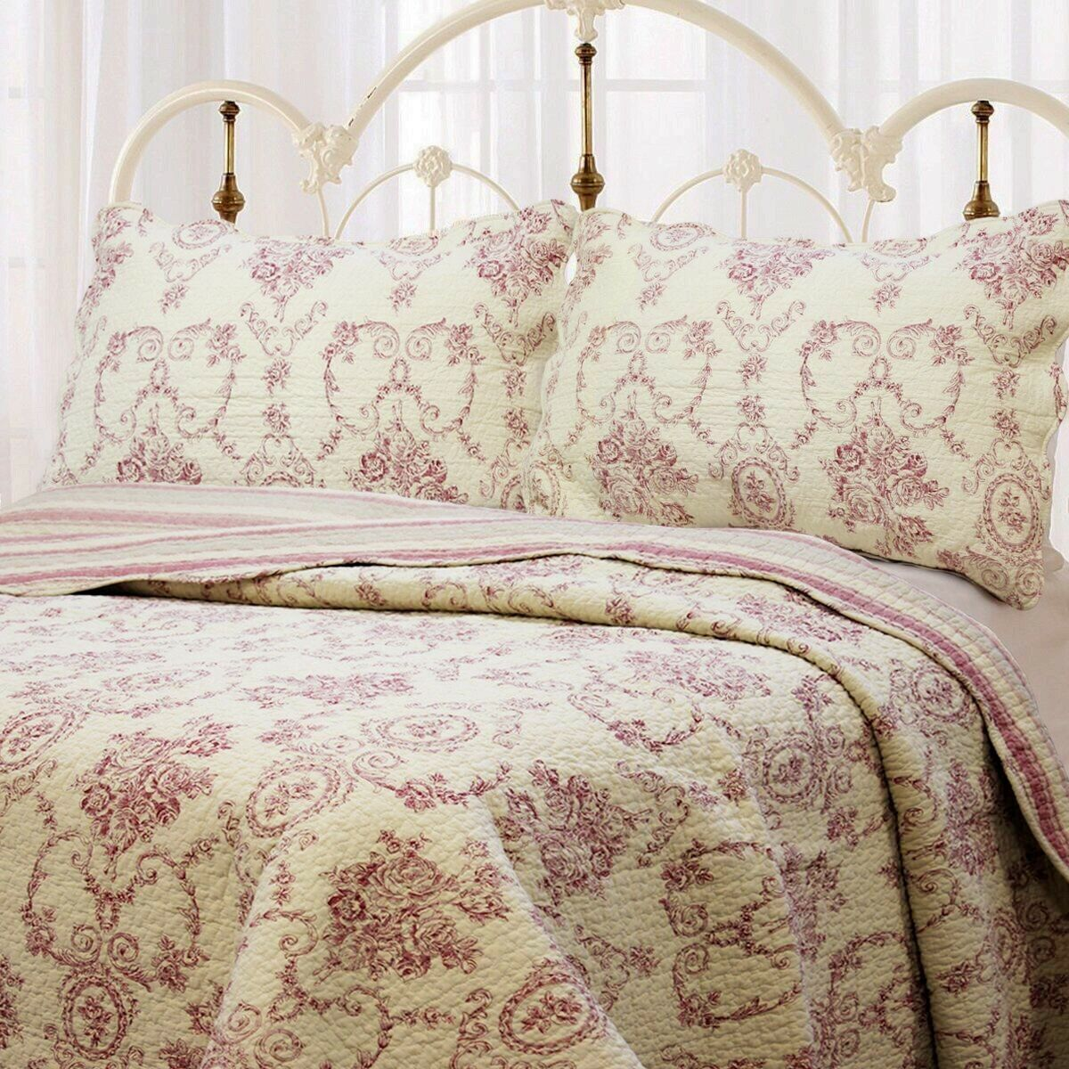 French Medallion Burgundy rot 100% Cotton Quilt Set, Bedspread, Coverlet