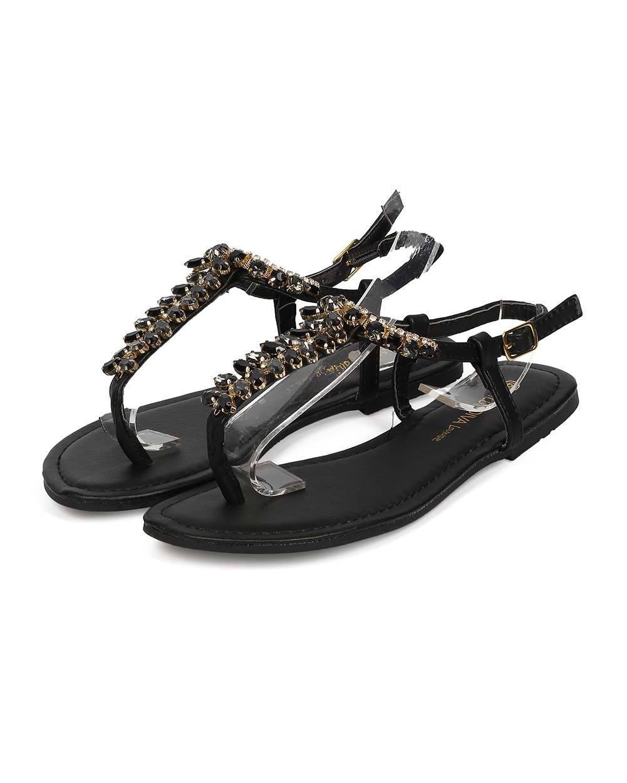 New Slingback Women Wild Diva Leann-217 Leatherette Gem Slingback New Boho Thong Sandal Size 73b625