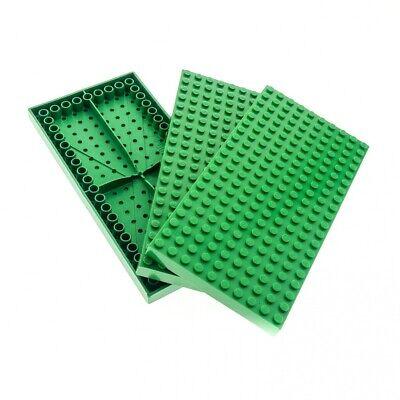 3 x Lego System Bau Platte B-Ware beschädigt grün 20 x 10 Noppen mit Bodenröhrch