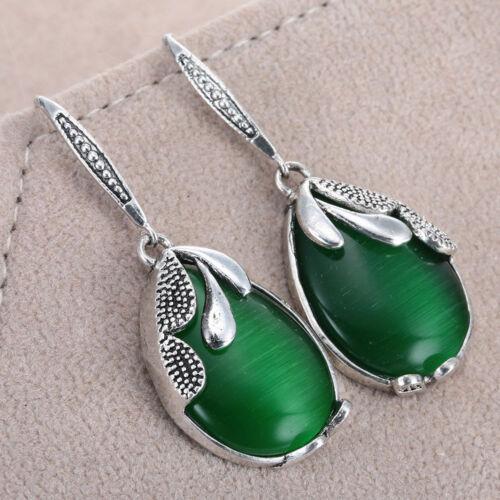 Fashion Frauen Schmuck 925 Silver Plated Crystal Dangle Hoop Earrings Stud Gift