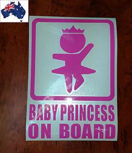 160mm-x-110mm-PINK-BABY-PRINCESS-ON-BOARD-Cute-Car-Sticker-Vinyl-Window-Decal
