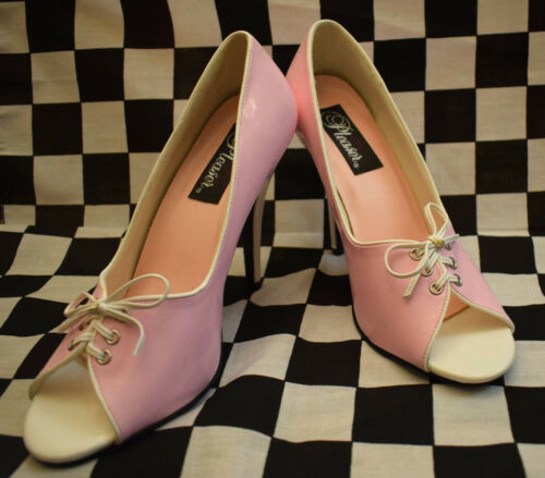 Pleaser Usa Escarpins rose pour 50er Rockabella verni Rockabilly Fête Shoes