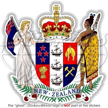 "3,5/"" Sticker Decal NEW ZEALAND Coat of Arms Aotearoa NZ National Emblem 90mm"