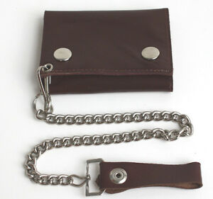 BROWN GENUINE LEATHER Biker's Wallet ID Card Holder Chain Trifold ID New