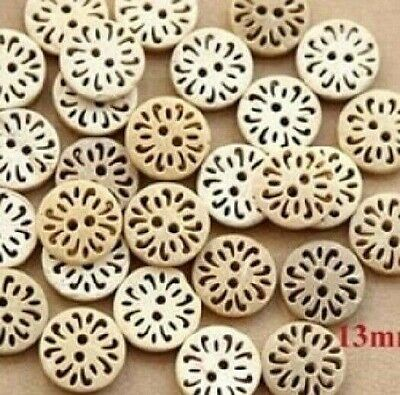 Flower 2 Hole Coconut Small Round Buttons 12mm Pack of 8