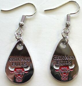 Image Is Loading Chicago Bulls Teardrop Earrings