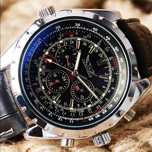 JARAGAR-Black-Leather-Band-Mechanical-Sport-Pilot-Military-Men-039-s-Wrist-Watch