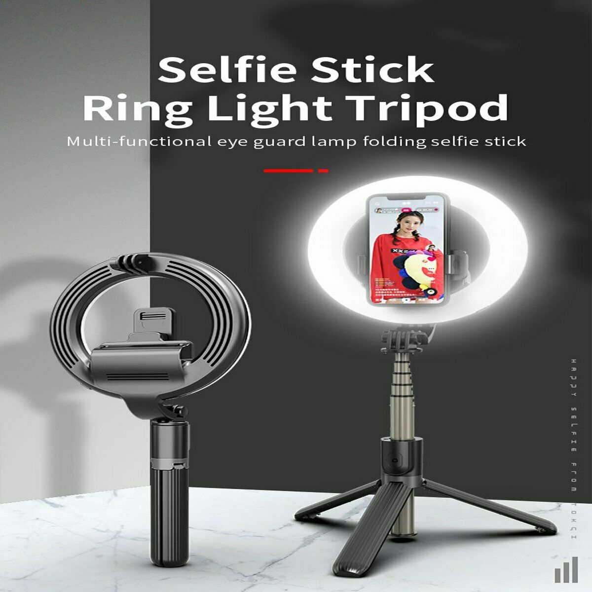 Selens 5'' Ring Light Bluetooth Selfie Stick w/ mini Tripod Stand For Phone Live