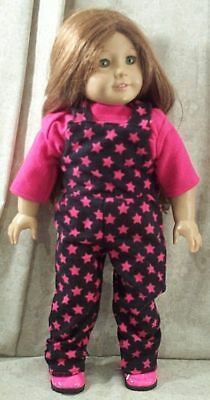 """Doll Clothes Made2 Fit American Girl 18/"""" inch Overalls Blouse Star Black Fuchsia"""