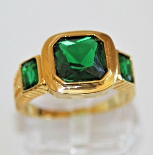 63 Ø 20.0 gr 750 Exclusivo damas de anillo 18 K oro GF verde esmeralda