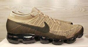 big sale 9f0d2 dc671 Details about Nike Air VaporMax Flyknit Khaki Black Running Training 849558  201 Pick Size