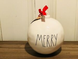 Rae-Dunn-Christmas-By-Magenta-MERRY-Ivory-Farmhouse-Ceramic-Ornament-Ball-VHTF