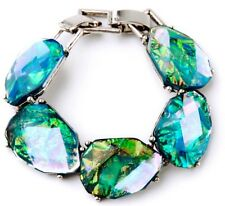 IRIDESCENT BLUE GREEN NORTHERN LIGHTS Chunky Crystal Rhinestone Silver Bracelet