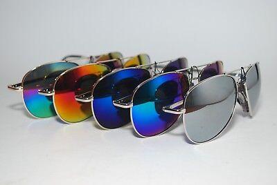 Aviator Large Driving Sunglasses Full Silver Hand Polished Frame Mirror AV01