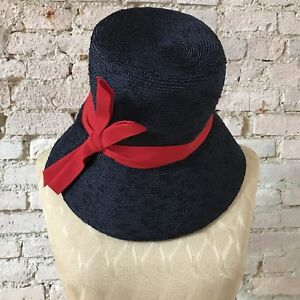 96757be9 Vintage Gladys & Belle Navy Straw Hat Cloche Red Ribbon Juniors size ...