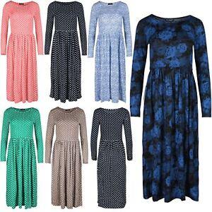 Womens-Midi-Dress-Ladies-Franki-Long-Sleeves-Swing-Flared-Skater-Dress-Plus-Size