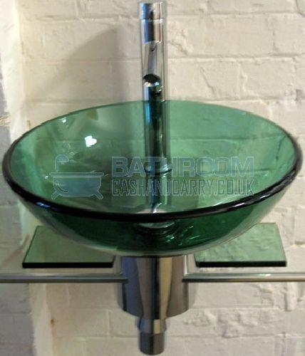 Beau Designer Bathroom Sink Round Green Glass Wash Basin Wall Hung Tap Trap Waste