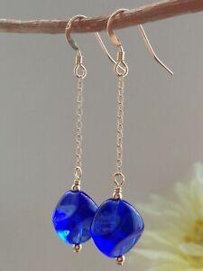 Round CITRINE Gemstones 14ct Rolled Gold Drop Earrings