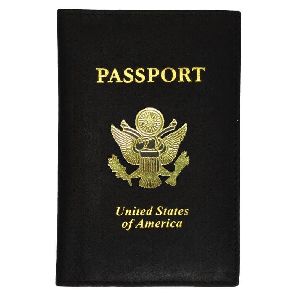 Voyage Cuir US Passport Organisateur Tenir Carte Étui Protection Housse Noir